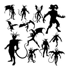 Devil silhouettes. Good use for symbol, logo, web icon, mascot, sign, or any design you want.