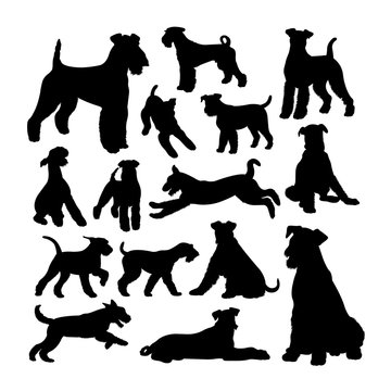Airedale terrier dog silhouettes. Good use for symbol, logo, web icon, mascot, sign, or any design you want.