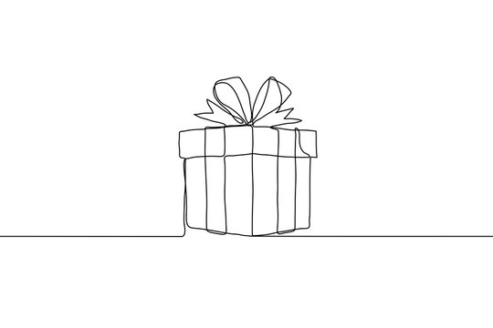 continuous line art closed gift knotted bow. Gift square box with ribbon. It can be used for animation. Vector