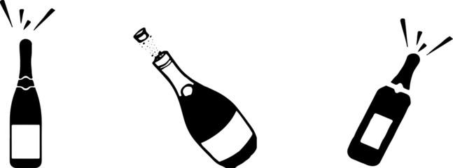 champagne bottle popping cork splash alcohol icon isolated on background