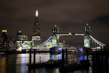 Tower bridge and the shard at night