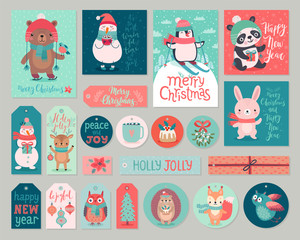 Wall Mural - Christmas cards and gift tags set with animals. Woodland characters hand drawn style.