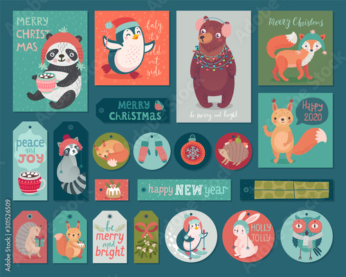 Wall mural Christmas cards and gift tags set with animals. Woodland characters hand drawn style.