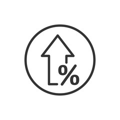 Growth arrow icon in flat style. Revenue vector illustration on white isolated background. Increase  business concept.