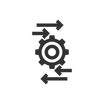 Process icon in flat style. Arrow and gear vector illustration on white isolated background. Optimization business concept.