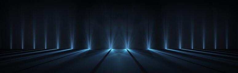 Fotomurales - Empty background scene. Dark street reflection on the wet pavement. Rays neon light in the dark, neon figures, smoke. Night view of the street, the city. Abstract dark background. Abstract spotlight.