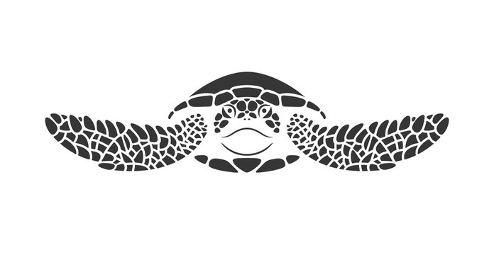 Sea turtle logo. Isolated turtle on white background. Reptile