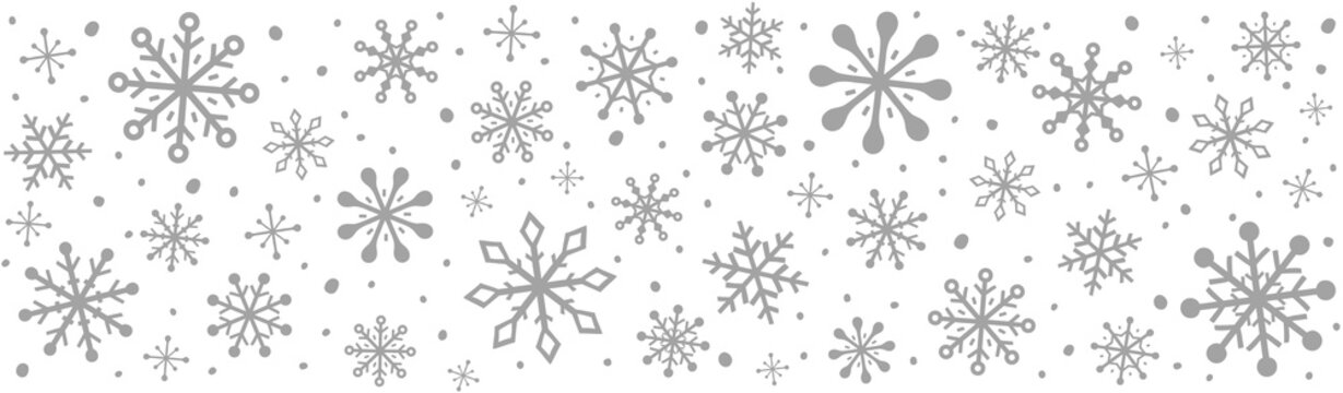 Panoramic header with beautiful snowflakes. Christmas decoration. Vector