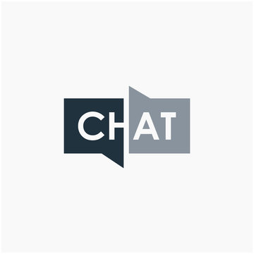 chat lettering with bubble concept logo design. talk, speak, logo template. Chat vector logotype design template.  -vector