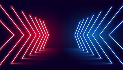 neon light arrow direction in perspective