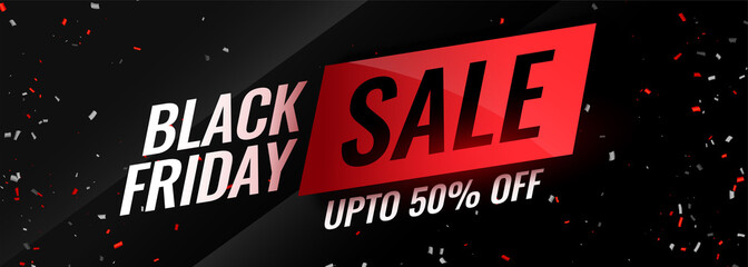 black friday event sale with confetti design