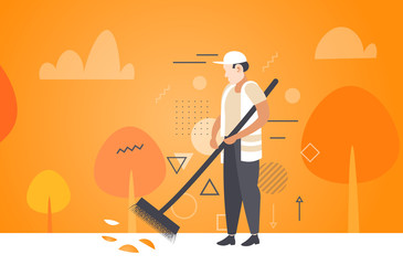 man cleaner sweeping road from leaves with broom male janitor in uniform cleaning service concept autumn landscape background full length sketch horizontal vector illustration