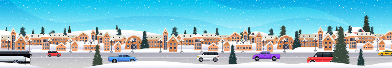 cars driving road over winter city street merry christmas happy new year holiday celebration concept snowy town snowfall cityscape background horizontal vector illustration Fotoväggar