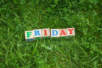 Friday word written on wooden blocks put on the green grass.