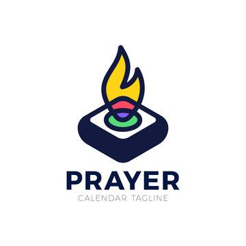 Pray Fire holy lamp logo concept, Logo church ligh simple, idea concept