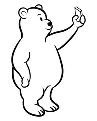 Cute Polar Bear Cartoon Taking Selfie Coloring Page