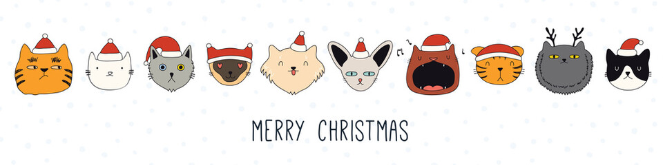 Printed kitchen splashbacks Illustrations Hand drawn card, banner with different cute cats faces in Santa Claus hats, text Merry Christmas. Vector illustration. Line drawing. Isolated objects. Design concept for holiday print, invite.