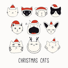 Printed kitchen splashbacks Illustrations Collection of cute funny doodles of different cats faces in Santa Claus hats. Isolated objects on white. Hand drawn vector illustration. Line drawing. Design concept for Christmas card invite, print.