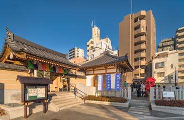 Main portal of the Togakuji temple of the Shingon sect whose main deities are the protector of the Buddhist laws Fudo Myoo and the Taoist deity of longevity Fukurokuju
