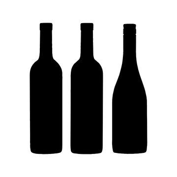 Wine bottle silhouette on white background
