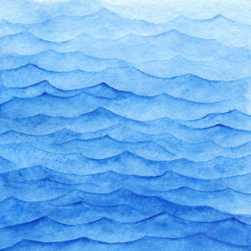 Watercolor waves pattern. Watercolor blue background