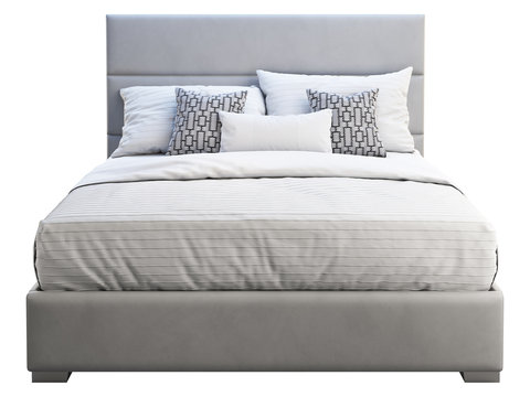 Modern gray leather frame double bed with bed linen. 3d render