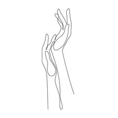 Obraz line drawing hands, fashion concept, hand beauty minimalist, vector illustration for nails, t-shirt, slogan design print graphics style - fototapety do salonu