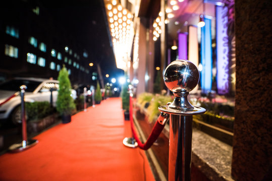 Empty red carpet entrance
