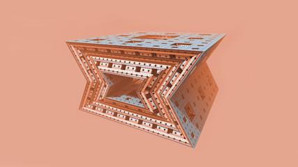 Illustrazione 3D di un frattale solido tridimensionale astratto su fondo rosato