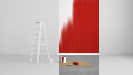 abstract renovated living room with colored strip at the wall - 3D Illustration