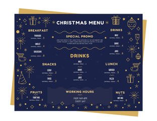 Xmas vector menu template. Holiday Party design. Doodle winter layout, restaurant food card