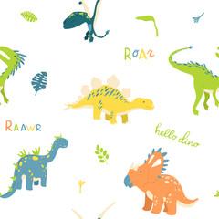 Flat cartoon style dinosaur seamless pattern. Best for kids fashion, children room decoration, kids dino party designs.
