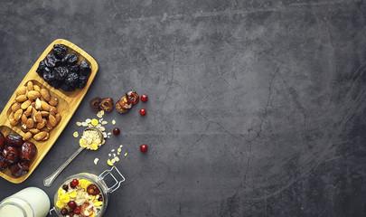Healthy breakfast. Muesli from cereals with milk berries.