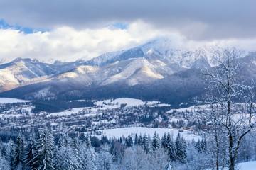 view on popular polish ski resort in Tatra Mountains - Zakopane during winter, Poland