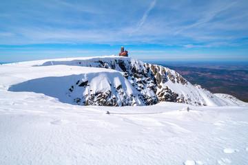 famous sniezne kotly (Great Snowy Pit), Giant Mountains (czech: Krkonose, pol: Karkonosze) during winter, Sudety on Czech-Polish border