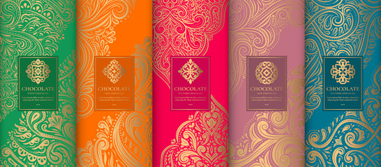 Luxury packaging design of chocolate bars. Vintage vector ornament template. Elegant, classic elements. Great for food, drink and other package types. Can be used for background and wallpaper. Fotomurales