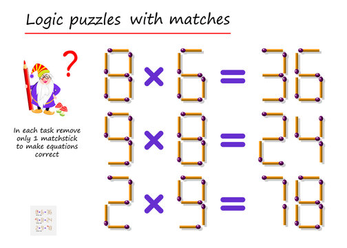 Logical puzzle game with matches. In each task remove only 1 matchstick to make equations correct. Math tasks on multiplication. Printable page for brain teaser book. Vector image.