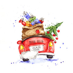 Santa hurries to bring gifts. Christmas card. Grandfather with a bag and a Christmas tree in a convertible car, watercolor illustration.