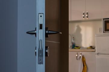 Close up of abstract interior door lock