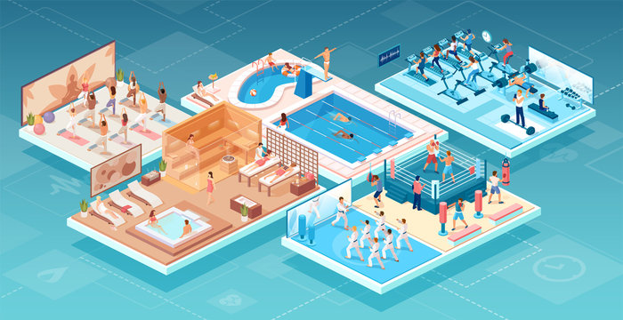 Isometric vector of people practicing sports and relaxing at fitness and wellness center