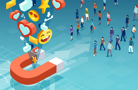Isometric vector of customers men and women making their product choice