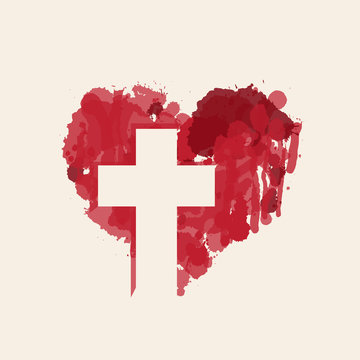 The sign of the white christian cross in the abstract red heart inside. Love of God, religious symbol. Creative vector illustration.