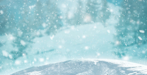 Printed kitchen splashbacks Light blue Art falling snow on the blue background