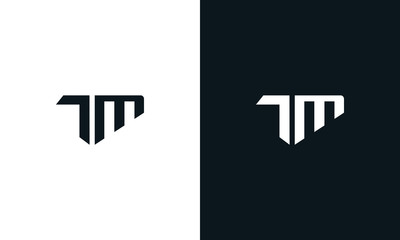 Minimalist abstract letter TM logo. This logo icon incorporate with two abstract shape in the creative process.