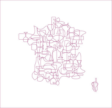 Countries winemakers - stylized maps from silhouettes of wine bottles, glasses and decanters. Map of France.