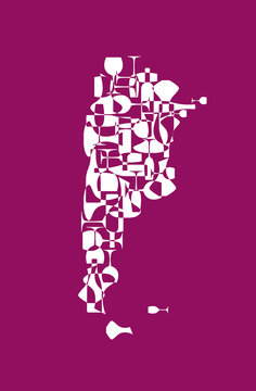 Countries winemakers - stylized maps from silhouettes of wine bottles, glasses and decanters. Map of Argentina.