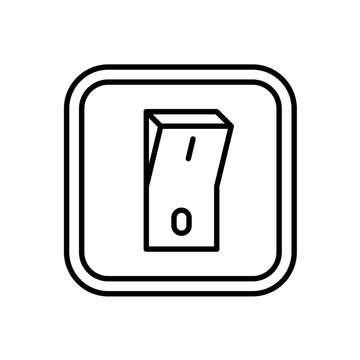 Electric switch icon. Indoor wall mount on off light or power switch symbol. Adjustable stroke width.