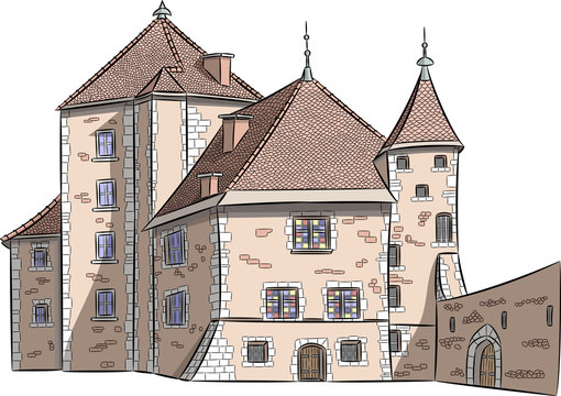 Color sketch of the old castle in Annecy.