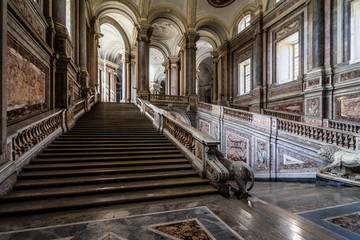 The Staircase of the Royal Palace of Caserta by Vanvitelli is the perfect synthesis of baroque and neoclassical style, Italy
