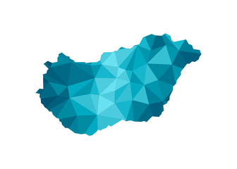 Vector isolated illustration icon with simplified blue silhouette of Hungary map. Polygonal geometric style, triangular shapes. White background